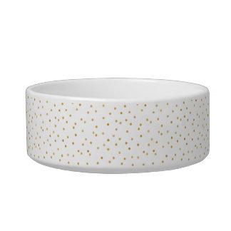 Tigela Pontos modernos elegantes dos confetes do branco e