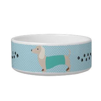 Tigela Prato azul do cão do Wiener das bolinhas da bacia