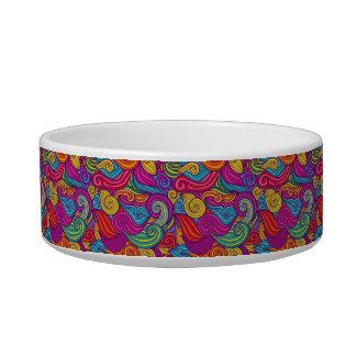 Tigela Teste padrão de onda colorido retro de Swirly do