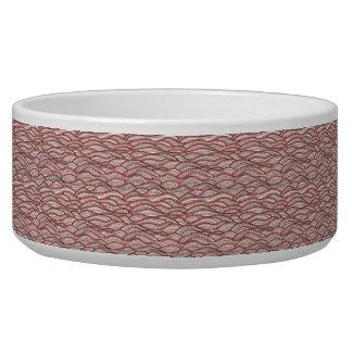 Tigela Teste padrão de ondas abstrato cor-de-rosa.