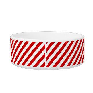 Tigela Teste padrão diagonal vermelho e branco das