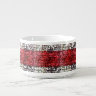 Tigela Vermelho e listras Textured cinzas