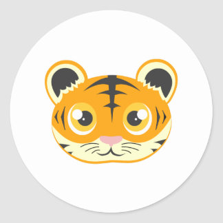 Tigre bonito dos desenhos animados adesivos em formato redondos