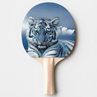Tigre branco azul raquete de ping pong