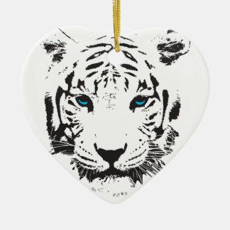Tigre branco com olhos azuis ornamento de cerâmica coração
