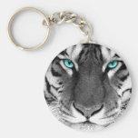 Tigre branco preto chaveiros