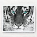 Tigre branco preto mouse pads