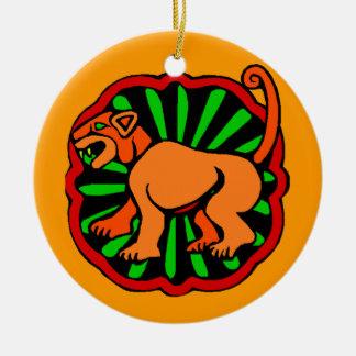 Tigre chinês do zodíaco do aniversário do ornamento de cerâmica redondo