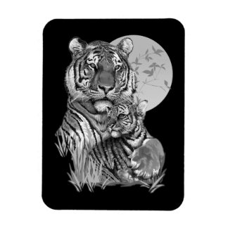 Tigre com Cub (B/W) ímã de Flexi