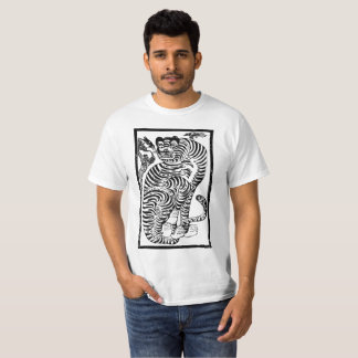 Tigre coreano da arte popular camiseta