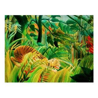 Tigre de Henri Rousseau em um cartão tropical da
