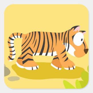 Tigre de meu serie dos animais do mundo adesivo quadrado