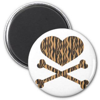 tigre do coração e dos crossbones ímã redondo 5.08cm
