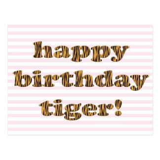Tigre do feliz aniversario! Cartão do impressão do