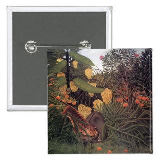 Tigre em uma selva por belas artes de Henri Bóton Quadrado 5.08cm
