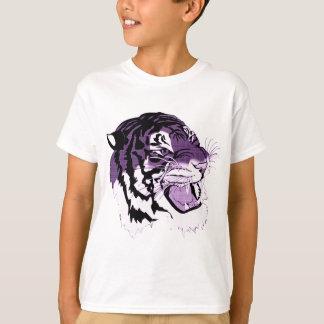 Tigre enfrentado roxo camiseta