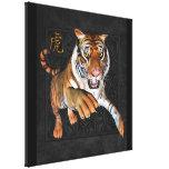 Tigre & envoltório chinês das canvas do símbolo impressão de canvas envolvida
