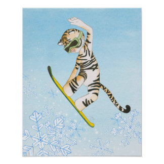 Tigre no poster do Snowboard