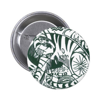 Tigre por Franz Marc, belas artes preto e branco Bóton Redondo 5.08cm