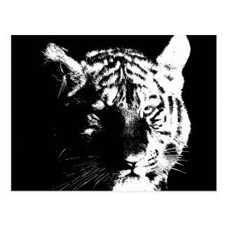 Tigre preto & branco do pop art cartão postal