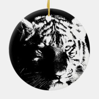 Tigre preto & branco do pop art ornamento de cerâmica redondo