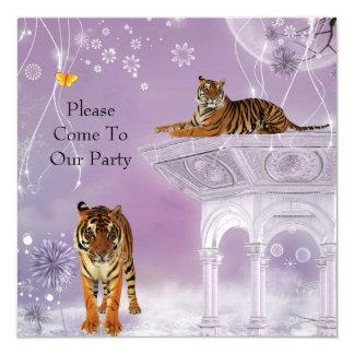 Tigres do partido do convite em Flowerworld