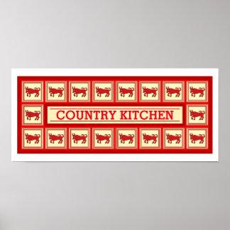 Tijolo e decoração customizável da cozinha do país pôster
