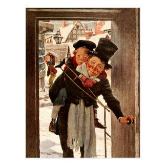 Tim e Bob minúsculos Cratchit no dia de Natal Cartão Postal