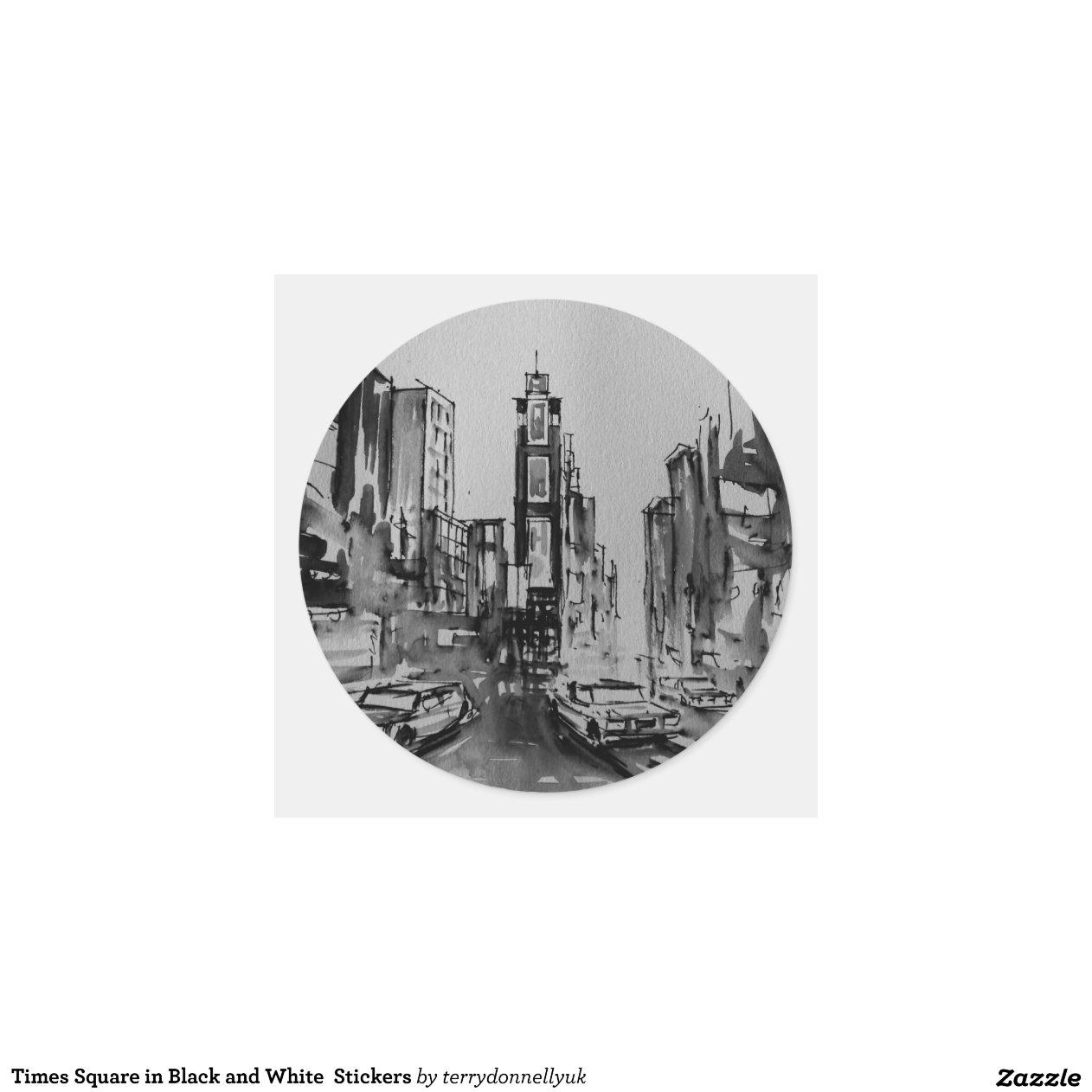 Artesanato Passo A Passo Com Cd ~ Times Square em etiquetas preto e branco Adesivo Em