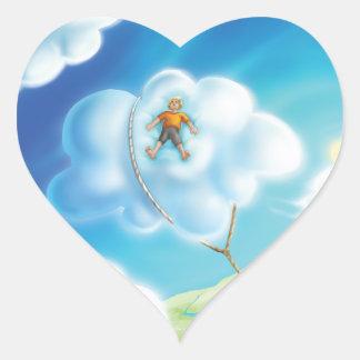 Tinir do tinir poucas etiquetas da sesta da nuvem adesivo coração