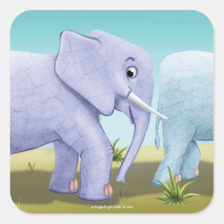Tinir do tinir poucas etiquetas do elefante do adesivo quadrado