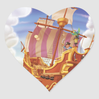 Tinir do tinir poucas etiquetas do navio de pirata adesivo coração