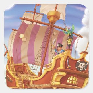 Tinir do tinir poucas etiquetas do navio de pirata adesivo quadrado