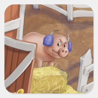 Tinir do tinir pouco Sr. Porco Etiqueta do gnomo Adesivo Quadrado