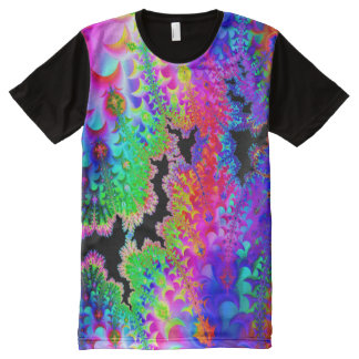 Tintura do laço do Fractal Camisetas Com Impressão Frontal Completa