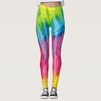 Tintura vertical do laço do arco-íris leggings