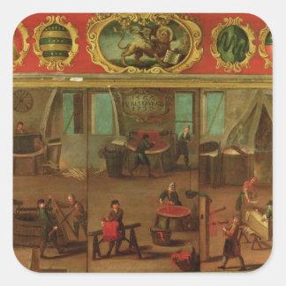 Tintureiros de pano que demonstram seus comércio e adesivo quadrado