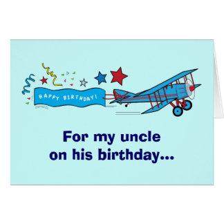 Tio Avião do feliz aniversario Cartão Comemorativo