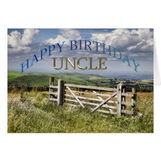 Tio do feliz aniversario, paisagem com uma porta cartão comemorativo