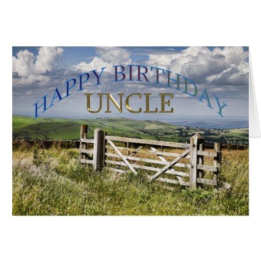 Tio do feliz aniversario, paisagem com uma porta cartões