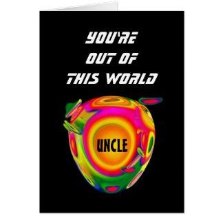 TIO engraçado do feliz aniversario de Sci Fi com Cartão Comemorativo