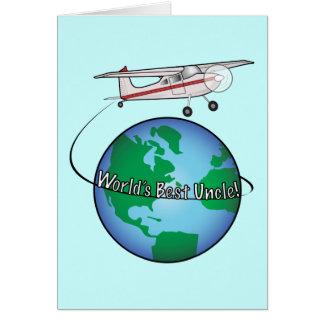 Tio feliz aniversario com cartão do avião