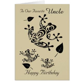 Tio - feliz aniversario - de nós - sapos - folhas cartão comemorativo