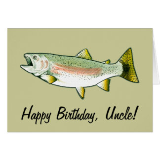 Tio feliz aniversario: Truta de arco-íris Cartão Comemorativo