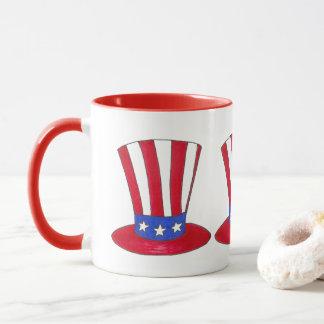 Tio Sam chapéu alto caneca patriótica dos EUA do 4