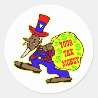 Tio Sam Obama e seu dinheiro dos contribuintes Adesivo