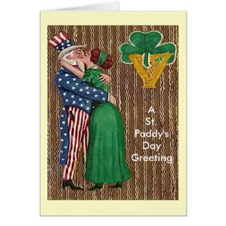 Tio Sam & senhora irlandesa Beijo Cartão