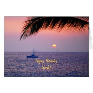 Tio Tropical Por do sol do feliz aniversario Cartão Comemorativo
