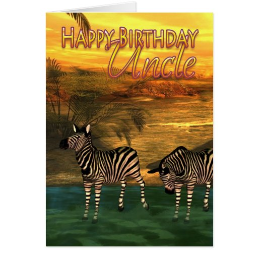 Tio Zebra Água do feliz aniversario Cartões