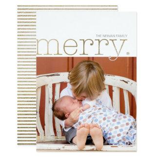 Tipo alegre cartão com fotos da folha de ouro do convite 12.7 x 17.78cm